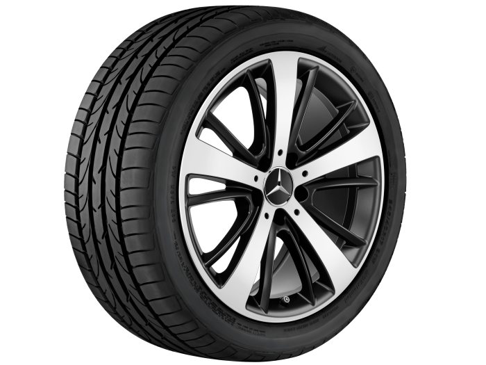 Mercedes-Benz light alloy wheels: 5-spoke wheel, with additional spokes, 45.7 cm (18 inch) for the SLC-Class