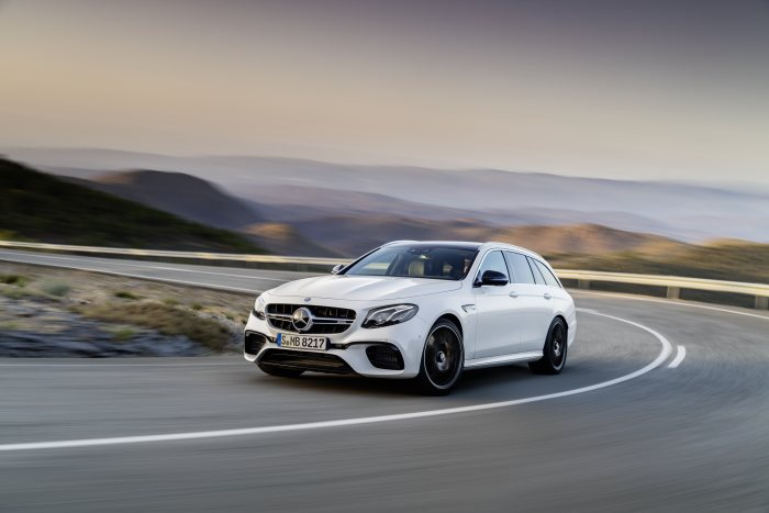 Mercedes-AMG E 63 S 4MATIC+ Estate, diamond white, driving shot