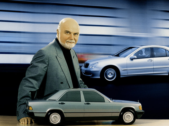 Bruno Sacco, responsible for Mercedes-Benz passenger car design until 1999, with a model of the Mercedes-Benz compact class Saloon from the W 201 series (produced from 1982 to 1993).