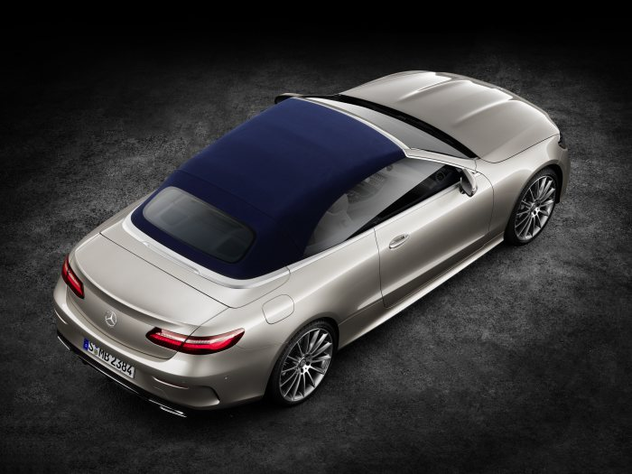 Mercedes-Benz E-Class Cabriolet; 2017; exterior: aragonite silver metallic, AMG line, fabric soft top dark blue