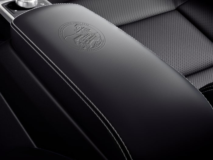 "Mercedes-Benz G-Class Limited Edition, 2017; ""Schöckl proved since 1979"" embossed emblem on the centre armrest"