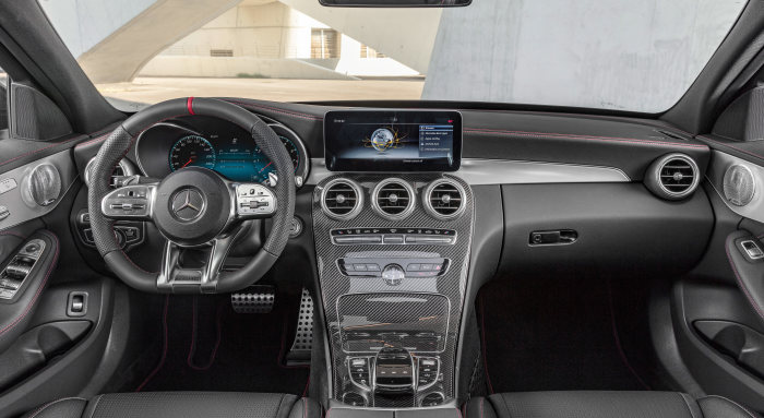 Mercedes-AMG C43 4MATIC Sedan, Night package und AMG Carbon- package II, Interior: Leather black with red contrast ornamental seam, Steering wheel: AMG steering wheel in leather Nappa, Body trim: AMG body trim carbon / aluminium with lengthwise grinding bright