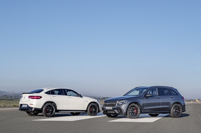 Mercedes-AMG GLC 63 S 4MATIC+ Coupé, designo diamantweiß bright; Mercedes-AMG GLC 63 S 4MATIC+, selenitgrau