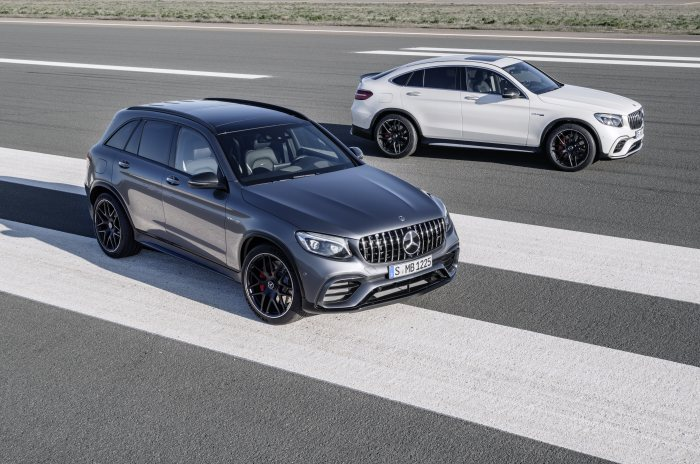 Mercedes-AMG GLC 63 S 4MATIC+, selenitgrau; Mercedes-AMG GLC 63 S 4MATIC+ Coupé, designo diamantweiß bright