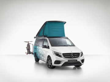 Caravan Salon Duesseldorf 2018: Mercedes-Benz Concept Marco Polo – the fully connected camper van of the future with voice operation, level control, liquid crystal windows, solar module and an inductive smartphone charging station