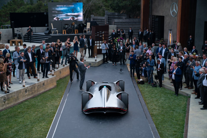 World premiere of the Mercedes-Benz Vision EQ Silver Arrow show car at Pebble Beach 2018