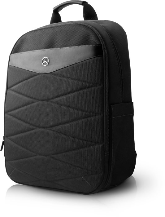 "15"" Computer Backpack in nylon & leather, black"