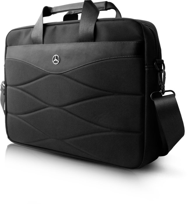 "15"" Laptop bag with shoulder strap in nylon & leather, black"