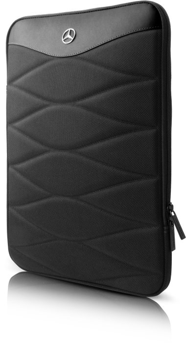 "13"" Computer sleeve in nylon & leather, black"