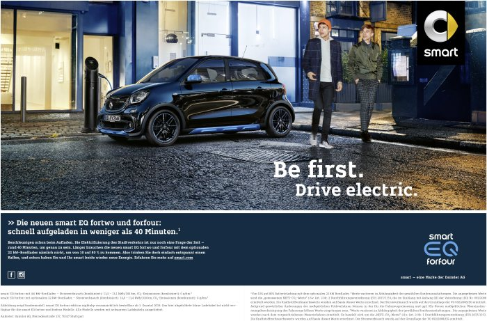 smart EQ campaign; smart EQ forfour with a 4.6 kW fast charger: Combined power consumption: 13.2 – 13,1kWh/100 km; combined CO2 emissions: 0 g/km*; smart EQ forfour with an optional 22 kW fast charger: Combined power consumption: 14,0 – 13,4kWh/100 km; combined CO2 emissions: 0 g/km*