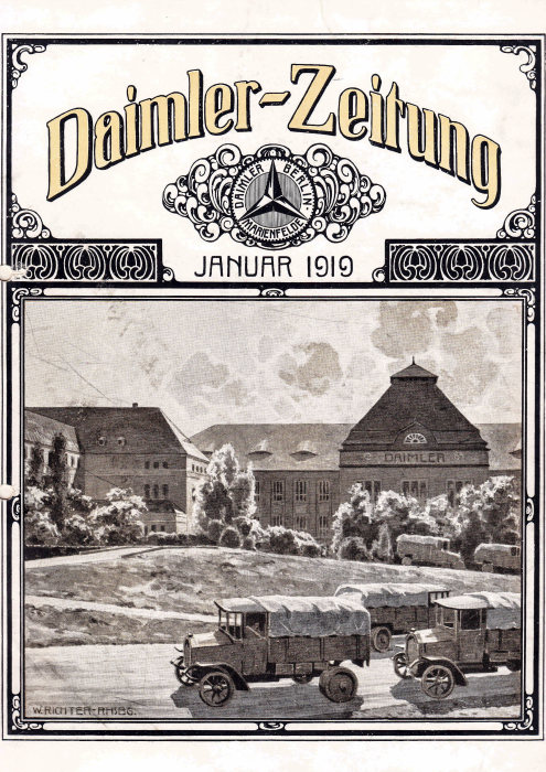 "First issue of the ""Daimler-Zeitung"" published by Daimler-Motoren-Gesellschaft (DMG), January 1919, title page."