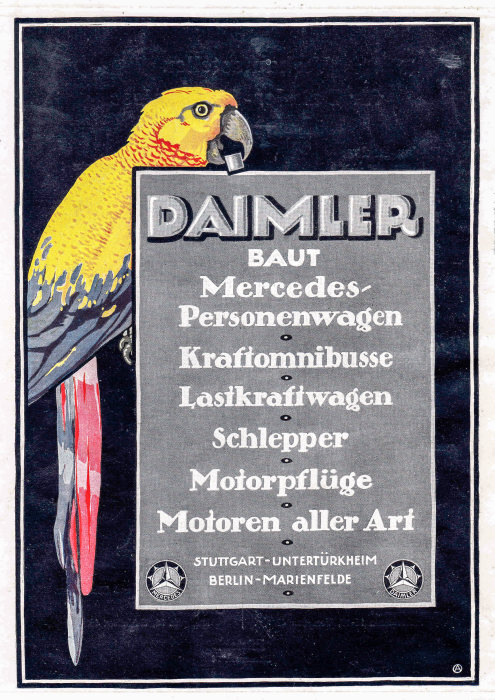"Customer magazine ""Daimler-Zeitung"" published by Daimler-Motoren-Gesellschaft (DMG), Issue 4 from May/June 1919, advertisement on the back page."