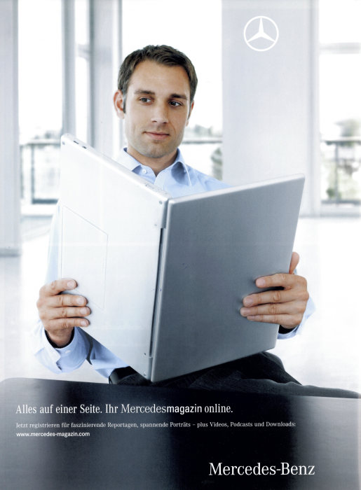 "Advertisement for the www.mercedes-magazin.com website, 2008: ""All on one page. Your Mercedes Magazine online. Register now for fascinating reports, exciting portraits – plus videos, podcasts and downloads: www.mercedes-magazin.com""."