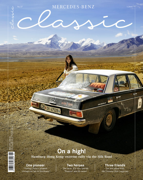 "Customer magazine ""Mercedes Classic"", issue 1/2019, on sale from 15 March 2019, title page."