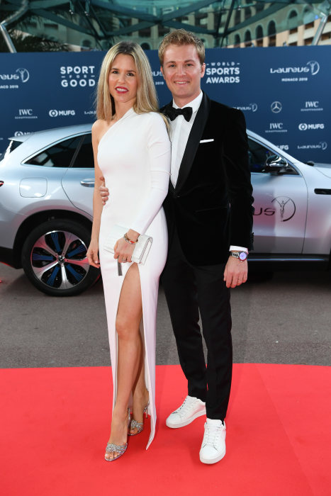 Nico Rosberg (r) and Vivian Sibold (l) in front of the Mercedes Benz EQC 400 4MATIC. GES/Sport: Laureus World Sports Awards 2019, February 18, 2019