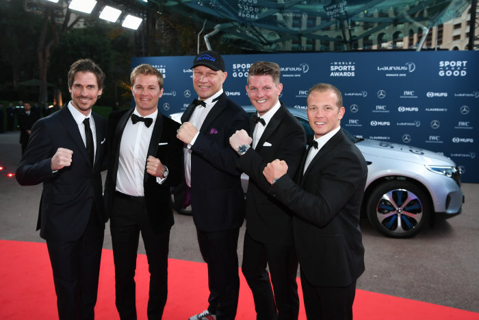 v.l. Felix Gottwald (Laureus ambassador), Nico Rosberg, Axel Schulz (Laureus ambassador), Thomas Morgenstern (Laureus ambassador), Fabian Hambüchen (Laureus ambassador) in front of the Mercedes-Benz EQC 400 4MATIC. GES/ Sport: Laureus World Sports Awards 2019, February 18, 2019.