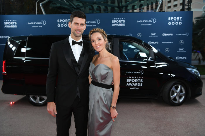 Novak Djokovic (r) and Jelena Ristic (l) in front of a Mercedes-Benz car. GES/ Sport: Laureus World Sports Awards 2019, February 18, 2019.