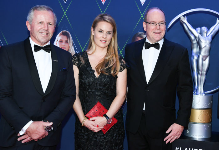 l-r Sean Fitzpatrick (Chairmen of Laureus), Bettina Fetzer (Vice President Marketing Mercedes-Benz Cars), Albert II, Prince of Monaco (r). GES/ Sport: Laureus World Sports Awards 2019, February  18, 2019