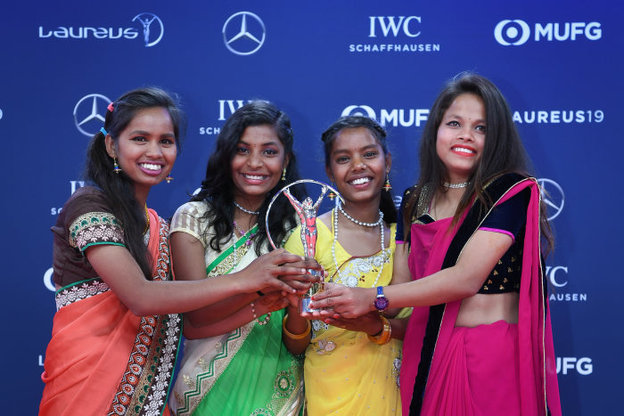 Laureus Sport for Good Award for the indian social project YUWA: l-r Neeta Kumari, Radha Kumari, Hema Kumari, Konika Kumari. GES/ Sport: Laureus World Sports Awards 2019, February 18, 2019