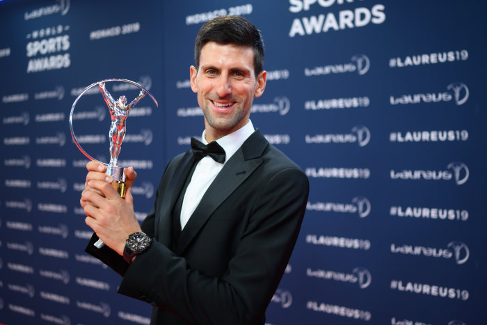 Novak Djokovic (Laureus World Sportsman of the Year Award) with the trophy. GES/ Sport: Laureus World Sports Awards 2019, February 18, 2019