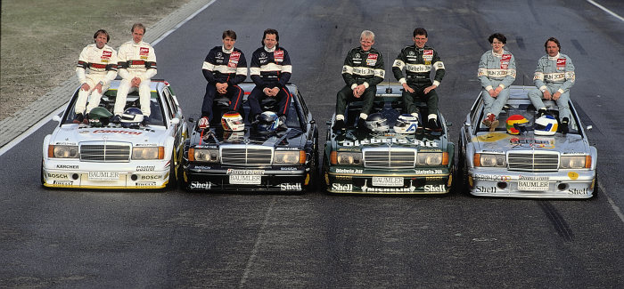 The Mercedes-Benz teams in the 1992 season of the German Touring Car Championship (DTM): Klaus Ludwig wins the DTM driver's title for the first time for Mercedes-Benz. Second and third places go to Kurt Thiim and Bernd Schneider, both also in Mercedes-Benz 190 E 2.5-16 Evolution II (W 201). The DTM drivers from left to right: Jacques Laffite, Jörg van Ommen, Bernd Schneider, Klaus Ludwig, Kurt Thiim, Roland Asch, Ellen Lohr and Keke Rosberg.