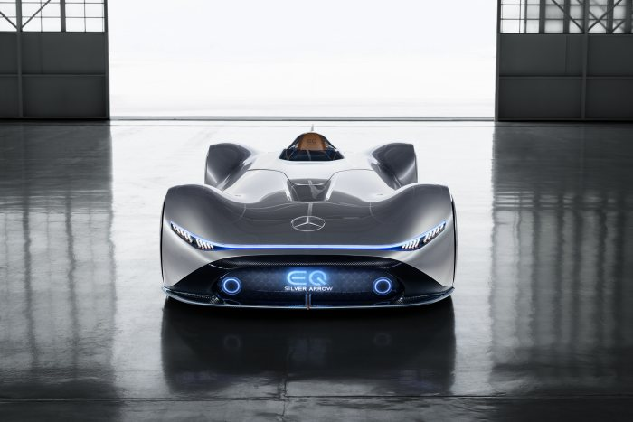 The design idiom combines timeless aesthetic appeal with futuristic visions.The paintwork in alubeam silver is reminiscent of the historic Silver Arrows. The interior of the Vision EQ Silver Arrow represents the values of Progressive Luxury.