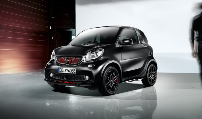 "smart is presenting a particularly stylish variant of the two-seater in Paris in the guise of the ""edition pureblack"" special model. This limited-edition special model will be available both with the two petrol engines (fuel consumption, combined: 5.0-4.8 l/100 km; CO2 emissions, combined: 114-110 g/km*)  and as an electric smart EQ fortwo (power consumption, combined: 18.3 -13.2 kWh/100 km; CO2 emissions, combined: 0 g/km*)."