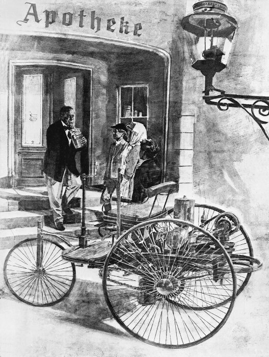 On their cross-country journey from Mannheim to Pforzheim in 1888, Bertha Benz and her sons Eugen and Richard bought light petrol from the town pharmacy in Wiesloch in order to refuel the Benz Patent-Motorwagen. Illustration.