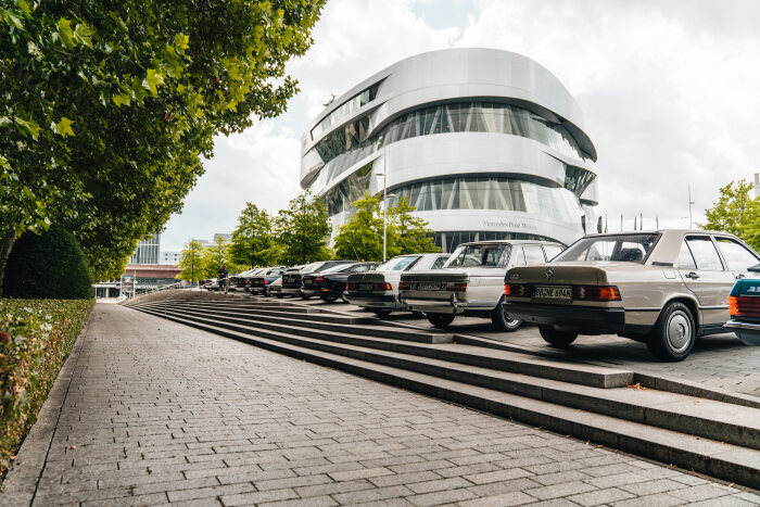 """Cars  &  Coffee"", the meet for classic cars of all makes at the Mercedes-Benz Museum. Photo from 2019."