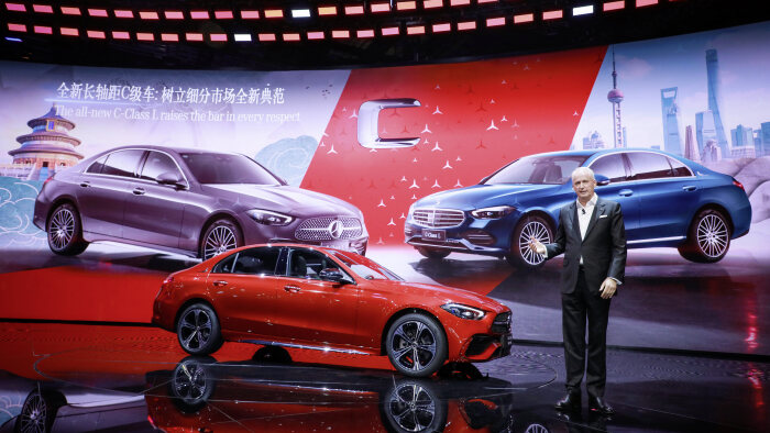 Hubertus Troska, Member of the Board of Management of Daimler AG, responsible for Greater China presenting the new C-Class long wheel base.